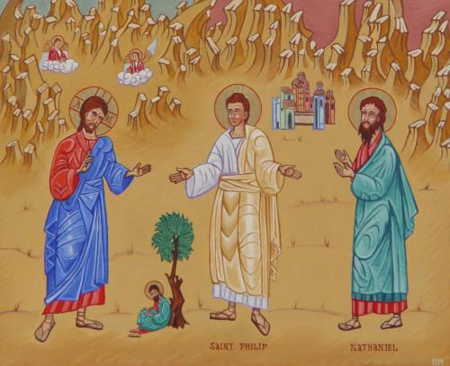 An image of Jesus by the fig tree, with Philip and Nathaniel